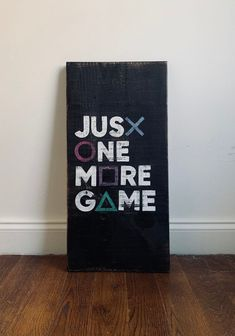 Excited to share this item from my shop: Just One More Game- Wooden Video Game Wall Art- Hand Painted Video Game Bedroom, Video Game Rooms, Gaming Wall Art, Gaming Room Setup, Boys Game Room, Boy Room, Video Game Decor, Video Game Art, Video Game Crafts