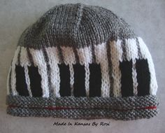 Hand knit piano hat... from Made In Kansas By Rosi, on facebook