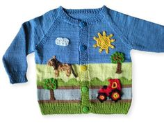 Knit baby jacket / raglan / country motif Now knit a wonderful jacket with a country / farm motif for your baby / toddler with raglan. Baby Knitting Patterns, Knitting Baby Girl, Knitting For Kids, Crochet For Kids, Crochet Baby, Knit Cardigan Pattern, Baby Cardigan, Pull Bebe, Knitted Hats Kids