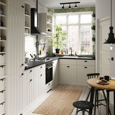 Create a cosy cottage kitchen feeling in the city. Explore this small kitchenette and its country touches, including IKEA HITTARP white panel door fronts. New Kitchen Designs, Kitchen Images, Modern Kitchen Design, Small Kitchens, Cool Kitchens, Ikea Kitchens, Banquette Ikea, White Panel Doors, Small Kitchenette