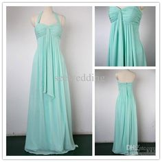 Wholesale Custom Column Halter Sweetheart Pleated Mint Chiffon Long Sexy Bridesmaid Dresses Evening Dress 2012, Free shipping, $72.8-92.96/Piece | DHgate