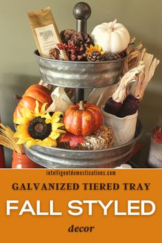 There are so many different ways to style a tiered tray. Use what you have on hand in your home like I did here to style my Fall Tray. All the details including what's around it to create those Fall Feels in my kitchen breakfast nook area of our home. #falldecor #fallcolors Halloween Home Decor, Fall Home Decor, Galvanized Tiered Tray, Kitchen Breakfast Nooks, Autumn Coffee, Cheat Meal, Christmas Diy, Holiday, Bar Drinks
