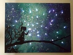 Instructional video how to paint fairy silhouette with night sky beginner lesson DIY magical Lights
