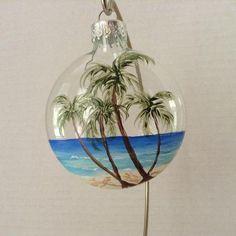 Ornament glass Palm Trees on a beach hand painted Handpainted Christmas Ornaments, Beach Christmas Ornaments, Coastal Christmas Decor, Nautical Christmas, Hand Painted Ornaments, Christmas Art, Christmas Decorations, Christmas Balls, Coastal Decor