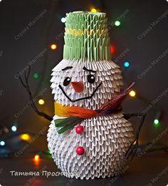 Мастер-класс Новый год Оригами китайское модульное Снеговик из модулей Бумага