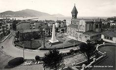 San Ignazioko eliza eta plaza, Udaletxeko terrazatik ikusita / Iglesia y Plaza de San Ignacio, desde la terraza del Ayuntamiento (ref. 04107)