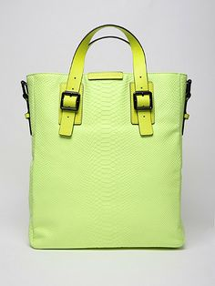 Marc By Marc Jacobs Men's Simple Leather Python City Bag in fluorescent yellow - how am I just seeing you!