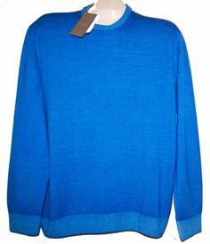 Andrea Fenzi Blue Men's Wool Knitted Italy CrewNeck Sweater Shirt Sz US 48 EU58  #AndreaFenzi #Crewneck