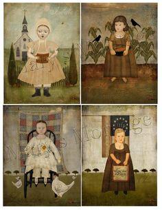 Primitive Girls, Collage Sheet, download, you print