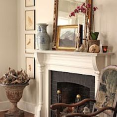Love the layered look on the mantel.