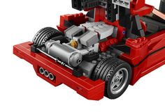 LEGO Ferrari F40 model featuring V8 engine replica