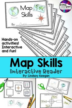 Maps and globes are so fun with this map skills interactive reader! Teachers and students in kindergarten and first grade enjoy these activities. Teaching map skills vocabulary including compass, maps, globes, map key and more! Map Activities, First Grade Activities, Hands On Activities, Kindergarten Activities, Vocabulary Activities, Teaching Map Skills, Teaching Maps, Project Based Learning, Learning Skills