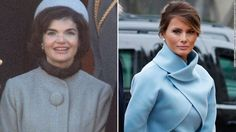 Melania Trump stepped out in a powder blue Ralph Lauren outfit that harkened back to Jacqueline Kennedy Onassis' iconic style.