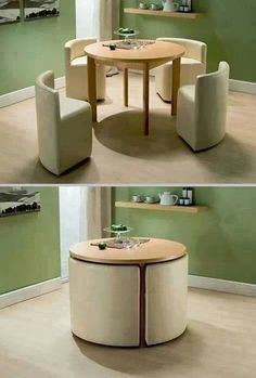 Space-saving breakfast table.