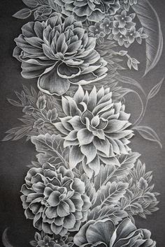 Such an amazing piece of art! Botanical Illustration, Graphic Illustration, Brush Embroidery, Paper Art, Paper Crafts, Colored Pencil Artwork, Parchment Cards, Floral Drawing, Chalkboard Art