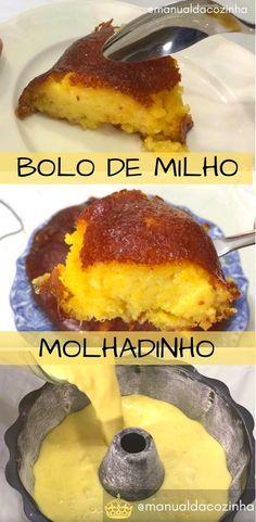Receita de Bolo Cremoso de Liquidificador, muito gostoso, prático é uma ótima opção para seu lanche da tarde! #bolo #cremoso #molhadinho #milho #liquidificador #aguanaboca #manualdacozinha #receita #receitafacil #receitacaseira Sweet Recipes, Cake Recipes, Brazilian Dishes, Corn Cakes, Good Food, Yummy Food, Bread Cake, Portuguese Recipes, Homemade Cakes