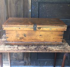 Antique Wood Trunk by LimeSilo13 on Etsy