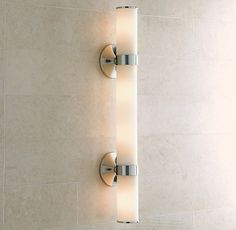 RH& Sutton Grand Sconce:Sutton brings a quality hotel aesthetic to your bath. Bathroom Sconces, Bathroom Light Fixtures, Bathroom Lighting, Master Bathroom, Bathroom Ideas, Bathroom Inspiration, Bathroom Stuff, Bathroom Showers, Bathroom Wallpaper