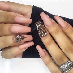 Matte Bling Long Coffin Nails #nail #nailart Nail Design, Nail Art, Nail Salon, Irvine, Newport Beach