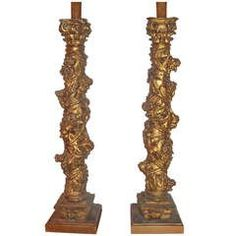 Pair Of 17th century Baroque Giltwood  Solomonic Columns Now Lamps