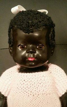 English Pedigree 13 hard plastic black baby doll astrakhan wig c1950 s