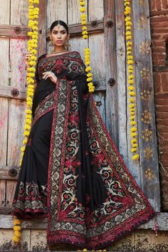 Black Silk Wedding Saree