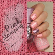 Pink Stamping nails.
