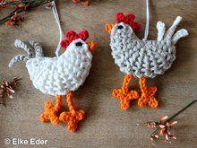 """Häkelanleitung - Hühner """"Berta und Gundel"""" - Osterdeko / Schlüsselanhänger / Taschenbaumler Motif en crochet - Poulets """"Berta et Gundel"""" - Décoration de Pâques / porte-clés / porte-bonheur Crochet Easter, Easter Crochet Patterns, Crochet Baby, Free Crochet, Crochet Chicken, Baby Mobile, Drops Design, Crochet For Beginners, Knitted Bags"""