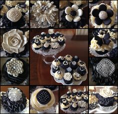 White and Gold Wedding. Black and white cupcakes