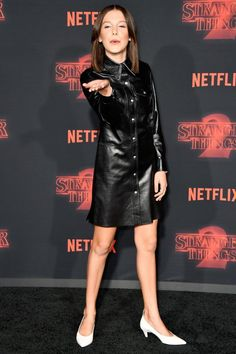 """Millie Bobby Brown Photos - Millie Bobby Brown attends the premiere of Netflix's """"Stranger Things"""" Season 2 at Regency Bruin Theatre on October 2017 in Los Angeles, California. - Premiere Of Netflix's 'Stranger Things' Season 2 - Arrivals Millie Bobby Brown, Bobby Brown Stranger Things, Finn Stranger Things, Bobbi Brown, Adrien Y Marinette, Brown Outfit, Leather Dresses, Brown Fashion, Ideias Fashion"""