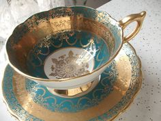 Antique Royal Stafford turquoise tea cup and saucer, blue and gold tea cup set, English tea cup, bone china tea cup, antique tea cups
