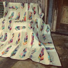 """Utterly gorgeous """"Field Study Feathers Quilt"""" by Cathi Bessell-Browne of GertrudeMade."""