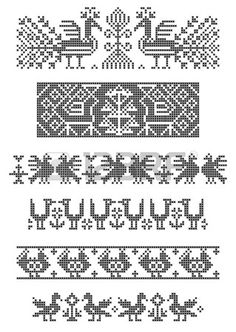 Illustration of set of borders, embroidery cross, birds vector art, clipart and stock vectors. Border Embroidery, Diy Embroidery, Cross Stitch Embroidery, Embroidery Patterns, Cross Stitch Borders, Cross Stitch Designs, Cross Stitching, Cross Stitch Patterns, Palestinian Embroidery
