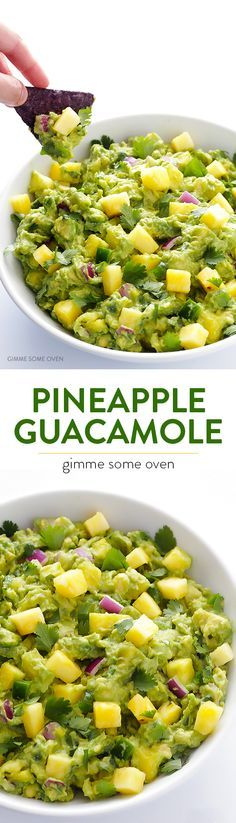 Guacamole Pineapple Guacamole -- delicious homemade guacamole is kicked up a notch with some fresh, juicy, sweet pineapple! Homemade Guacamole, Fresh Pineapple Recipes, Guacamole Dip, Pineapple Salsa, I Love Food, Good Food, Yummy Food, Healthy Snacks, Snacks