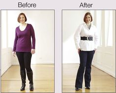 Create Curves: Belts can create shape. Bootcut pants help balance hips and shoulders. www.monroeandmain.com