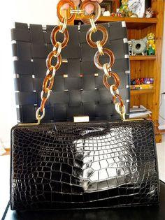 SALE LUCILLE de paris CROCODILE black reptile by yummiesmummy, $349.99