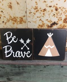 Be Brave  Boho inspired wood accent block/tiles by WellHungDesigns