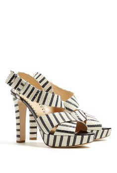 be706207c4d8 Stripe Bow Side Platform Sandal by Moschino Cheap   Chic