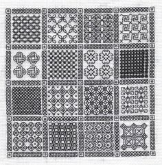free blackwork embroidery motif and fill patterns - wonderful site - well worth visiting! Motifs Blackwork, Blackwork Cross Stitch, Blackwork Embroidery, Cross Stitching, Cross Stitch Embroidery, Embroidery Patterns, Cross Stitch Designs, Cross Stitch Patterns, Broderie Bargello