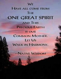 We have all come from the one great spirit and this precious earth is our common mother. Let us walk in harmony. - Native Wisdom #iamonemind #success #motivation #inspiration #wordporn #lawofattraction #lifestyle #mindset #mentor #universe #gratitude #yingyang #higherconsciousness #light #peace #love #weareone #freeyourmind #awareness #evolve #higherself #quotes