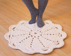 Doily rug round area rug crochet 60cm / 24 inch.
