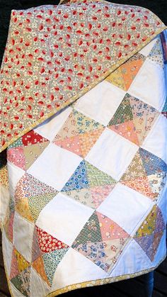 Today I made this little baby quilt, using Windham's  Story Book fabrics and Wee Play for the backing.  These fabrics reminds me of my great grandma's dresses, just gorgeous!    Blogged here: swede-heart.blogspot.com/2011/06/1930s-reproduction-print...  Follow me on Facebook: www.facebook.com/a.little.swedeheart