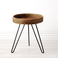 Small Rattan Side Table design Ideas You Will Love - Round Metal Side Table, Rattan Side Table, Modern Side Table, Cane Furniture, Home Decor Furniture, Rattan Stool, Timber Table, Round Stool, End Tables