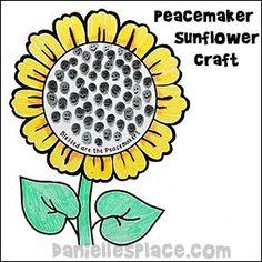 Beatitudes Bible Craft - Peacemaker Thumbprint Sunflower Craft from www.daniellesplace.com