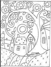 Rug Hooking Paper Pattern QUAINT TOWN Folk Art MODERN PRIMITIVE UNIQUE Karla G