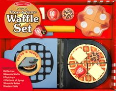 "Melissa & Doug Wooden Press & Serve Waffle Play Set - Say ""Yes!"" to waffles every day with the Melissa & Doug Wooden Press & Serve Waffle Play Set . Kids will get a real kick out of grilling and. Wooden Playset, Wooden Toys, Play Food Set, Play Sets, Little Chef, Melissa & Doug, Toy Rooms, Waffle Iron, Imaginative Play"