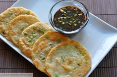 Chinese Scallions/ Green onion Pancakes : Cong You Bing with Ginger- Soy Dipping Sauce. Addictive, yumm.