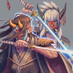 Samurai couple, Nico Fari on ArtStation at https://www.artstation.com/artwork/ZnNQN