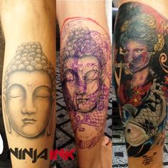 Covering up a black and grey buddha with a colorful geisha