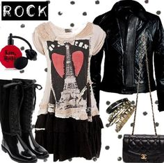 Rock fashion.Love the jacket and the t-shirt is a bonus ; )